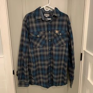 Large Tall Carhartt Black and Grey plaid shirt